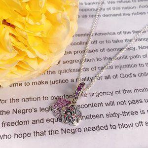 🎆NWT Pink Pavé Peach Blossom Flower Necklace